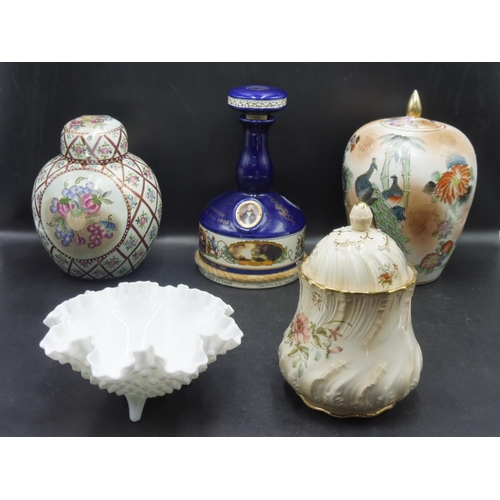 58 - Five pieces of Porcelain to include Ginger Jar, Decanter and other...