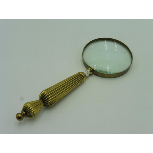 32 - Large Ornate Brass Magnifying Glass (11