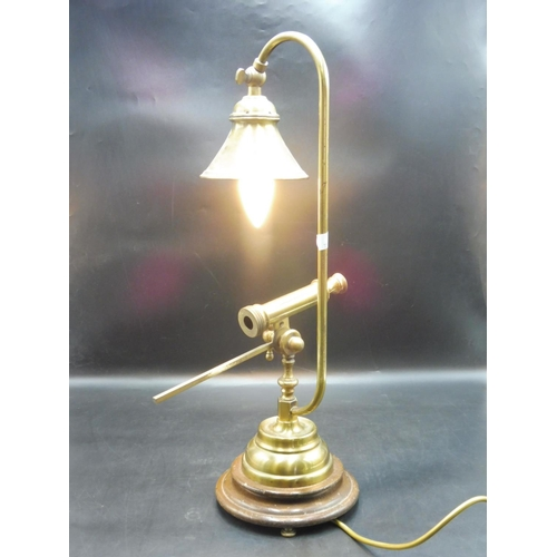 43 - Adjustable Brass Table Lamp with Faux Telescope on Wooden Plinth (22