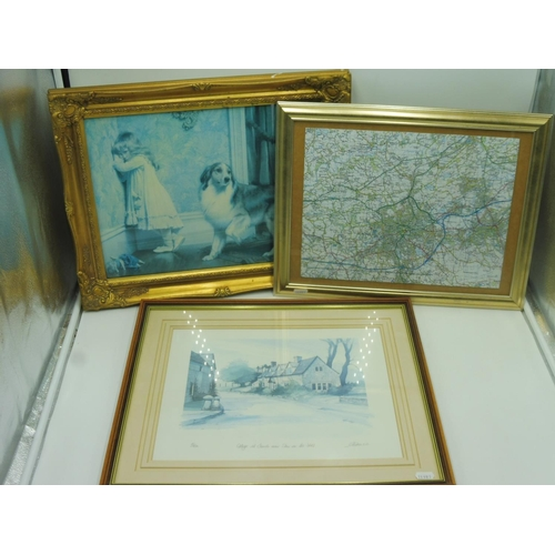 8 - Three Framed and Pictures including Jigsaw of Blackburn Area, Geoffrey Cowton and Charles Burton Bar...