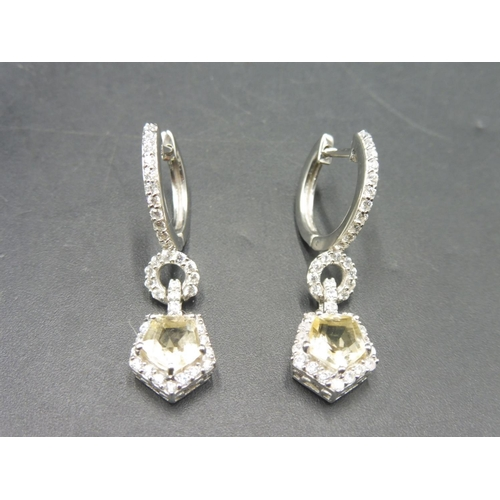 38 - Pair of Silver Citrine Stoned Earrings Complete with presentation box...