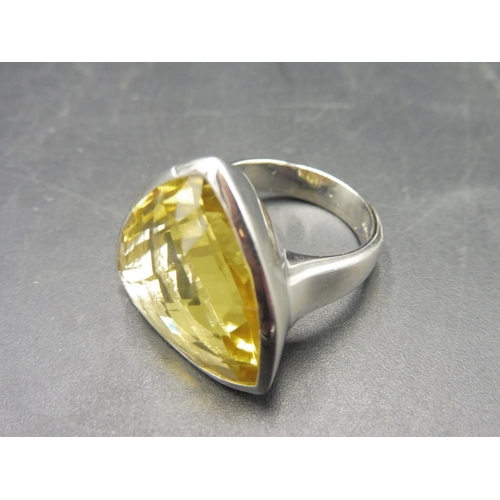 40 - Hallmarked Birmingham Silver 925 Large Citrine Stoned Ring (Size M) Complete with presentation box...
