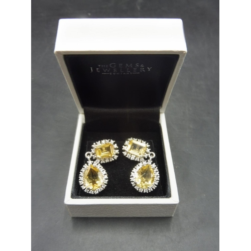 41 - Pair of Silver 925 Citrine Stoned Earrings Complete with presentation box...