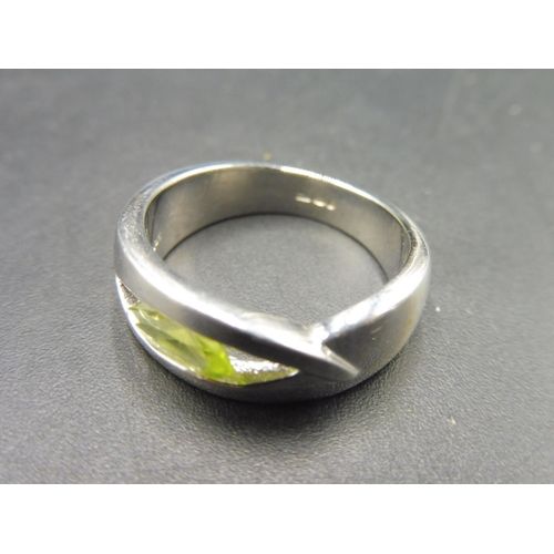 43 - Hallmarked Birmingham Silver 925 Green Stoned Ring (Size N) Complete with presentation box...