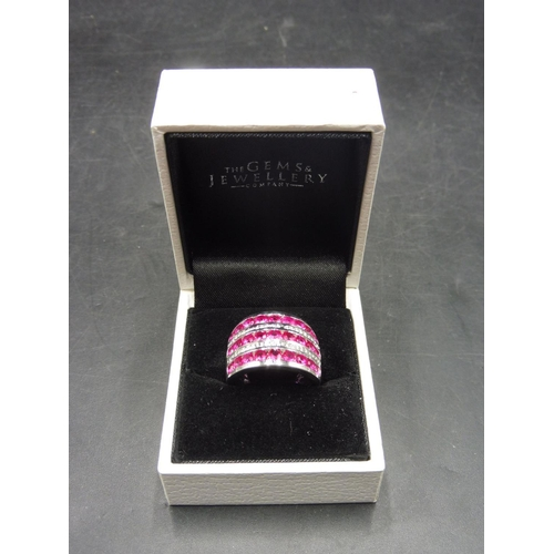 46 - Hallmarked Birmingham Silver 925 Red Stoned Ring (Size K) complete with presentation box...