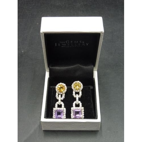 47 - Pair of Silver 925 Citrine and Amethyst Stoned Earrings complete with presentation box...