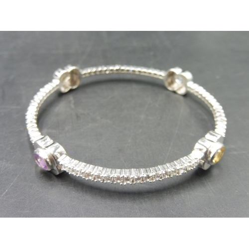 61 - Hallmarked Birmingham Silver 925 Bangle with 4 Mounted Coloured Stones complete with Presentation Bo...