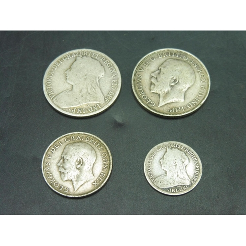 64 - Selection of British Silver Coinage including 1916 Florin, Victorian Florin, Sixpence and Shilling...