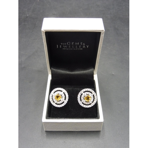 68 - Pair of Citrine Stoned Earrings complete with presentation box...