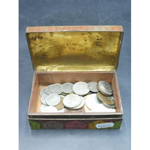 69 - Selection of Mixed Coinage including Silver Contained within a enamelled Brass Trinket Box...