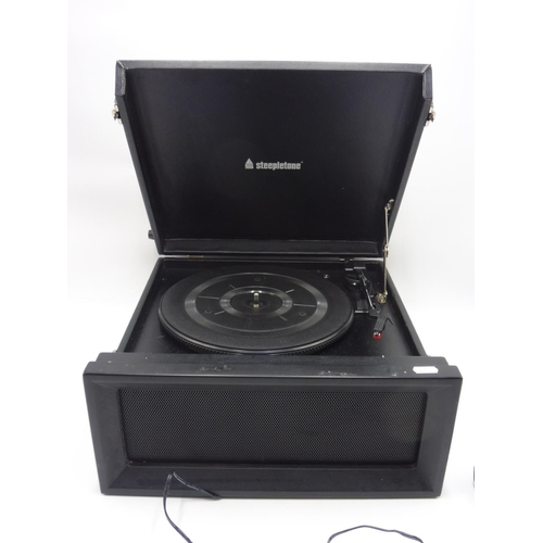 86 - Steepletone Dansette Style Modern Record Player with Radio, USB and SD Card comes with Power Lead (W...