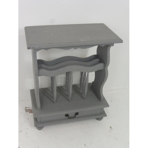 91 - Painted Magazine Rack with Tea/Coffee Table and Bottom Drawer 27.5