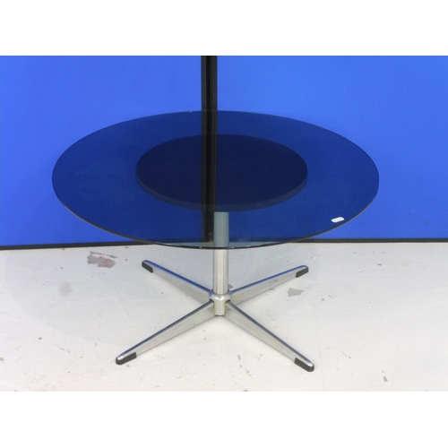 95 - Circular Glass Topped Coffee Table (28