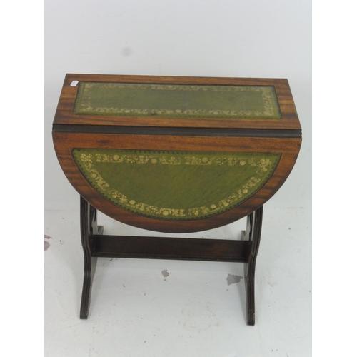 96 - Vintage Leather inlaid twist & turn Drop Leaf Side Table 19.5