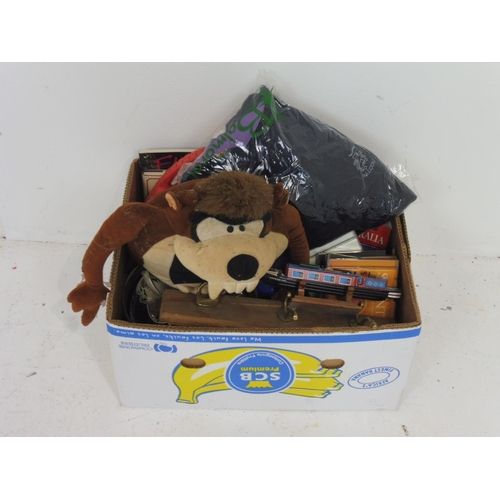 111 - Mixed Box includes Books, Teddy, Balmoral Jumper, Ceramics, Silver Plate and other...