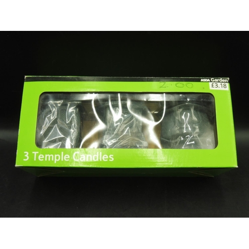 118 - Box of three New Temple Candles...