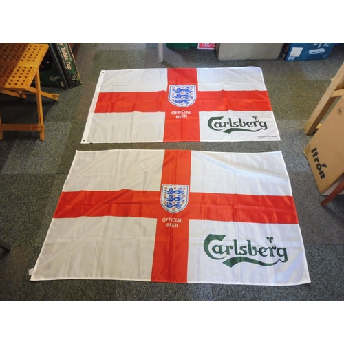 129 - Two Carlsberg 3 Lions Flags (Approx 59