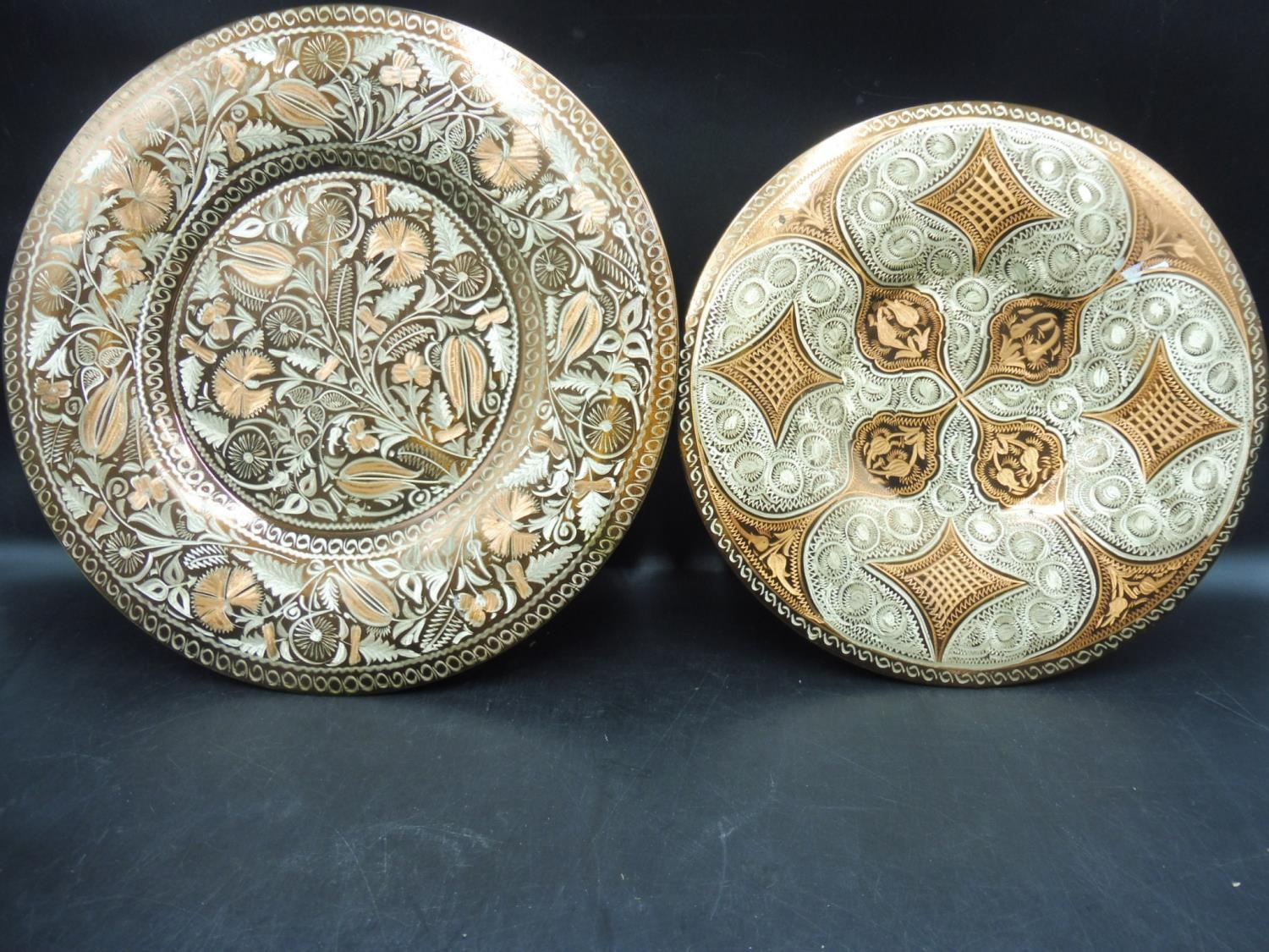 Two Hand Made Copper Turkish Wall Plates 13 5