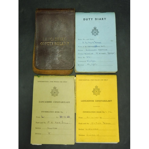 3 - Original 1960s Lancashire police Handwritten Duty Diary plus 2 Information Books Plus Leather Cover...