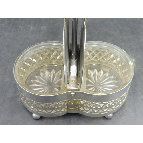 4 - Vintage Silver plated and Glass Condiment pot with press lids...