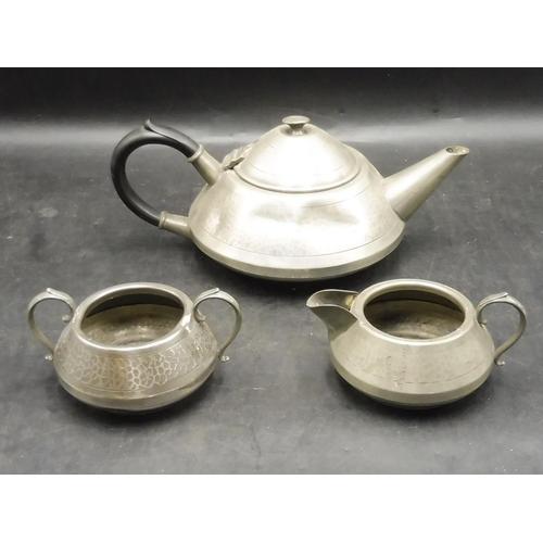 6 - Three Piece Vintage British Lion Pewter Set to comprise of Teapot, Milk jug & Sugar Bowl...