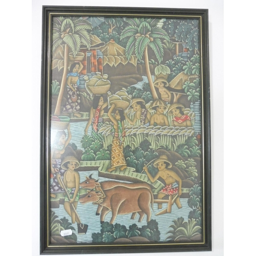 11 - Framed and Glazed picture from Bali Approx. 15
