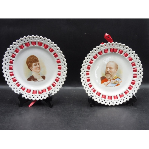 12 - Two Ribbon Plates to include King Edward VII and Queen Alexandra...