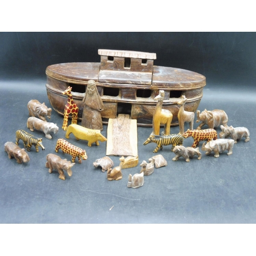 14 - Hand Carved Noah's Ark to contain a selection of Carved Animals and Noah...
