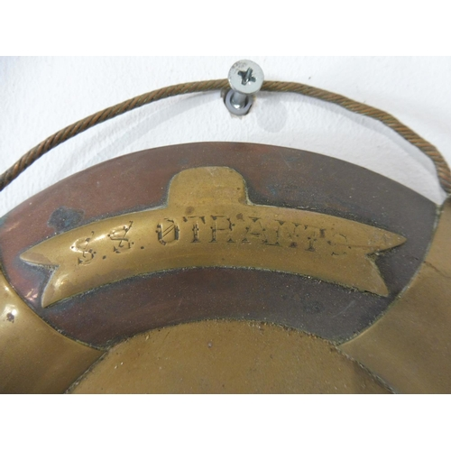 16 - Copper Wall Mounted Buoy Marked SS Otranto Barrow 1930...