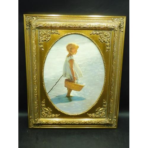 17 - Gilt Framed Print of Board depicting Little girl Fishing (18