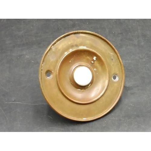 23 - Antique Brass Circular Door Bell (10cm Dia)...