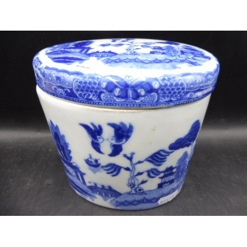 26 - Burslem Chinese Blue & White Transfer Lidded Tea Caddy (6