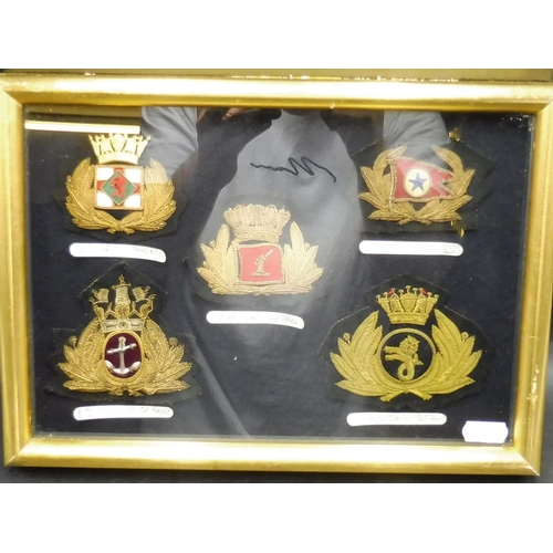 27 - Selection of Vintage Officers Merchant Navy Patch Badges in Glass Case (12