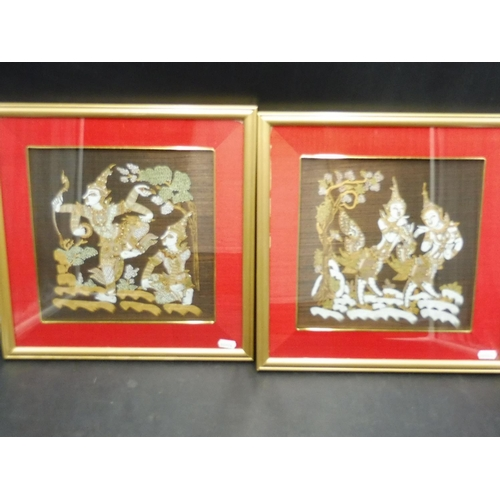 28 - Pair of Framed and Glazed Hand Painted Thai Silk Pictures (15