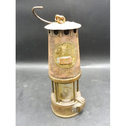 29 - Vintage Miners Lamp with Brass Plaque (Eccles) 10