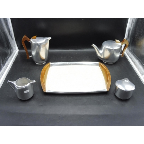 31 - Picquot Ware Tea Service on Wooden Tray...