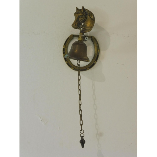 32 - Vintage Brass Horse Themed Wall bell...