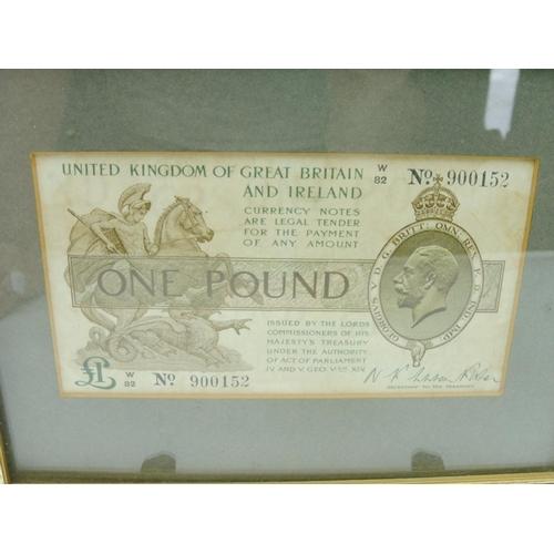 37 - Framed Genuine King George V One Pound Bank Note Pre 1935...