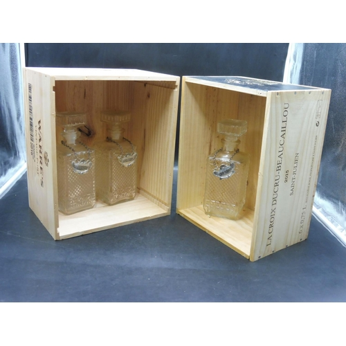 42 - La Croix Ducru- Beaucaillou & Warre's Wine Boxes complete with Three decanters...