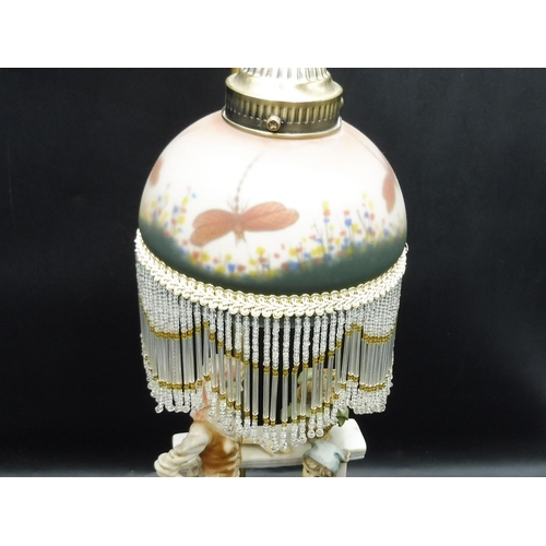 45 - Pottery figure Lamp on wooden Base with Butterfly Glass shade...