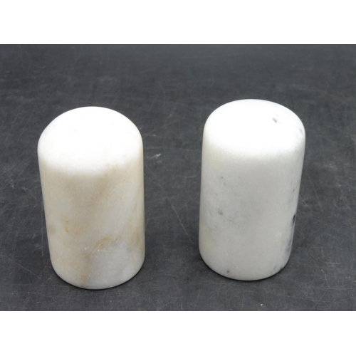 70 - Pair of Marble Salt & Pepper Pots with stopper 3