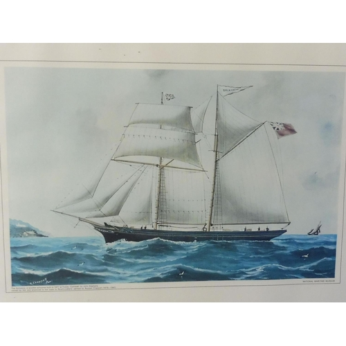 95 - Framed and Glazed picture of a Schooner Ship Approx. 27