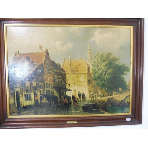 120 - Street Scene by Cornelis Springer Approx. 80cm x 60cm...