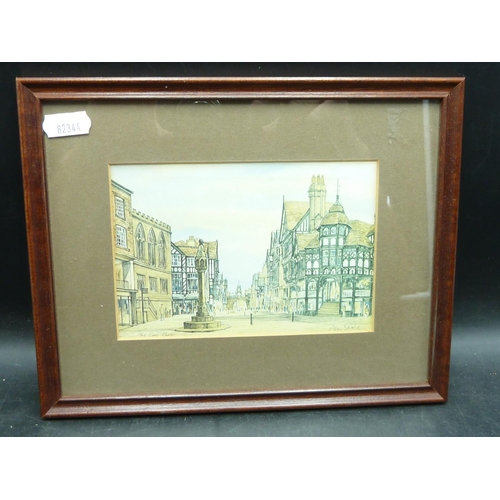 121 - Small Framed and Glazed Print Titled 'The Cross' in Chester signed by artist in Bottom right corner ...