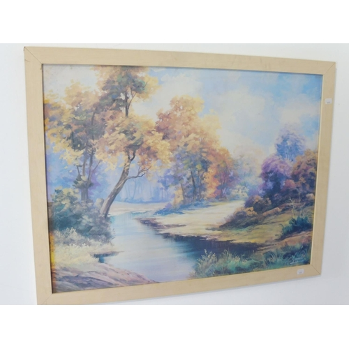 144 - Large Framed Print of lake Scene approx. 34