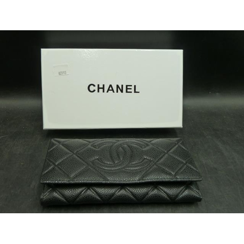 176 - Black Leather Chanel Purse In Original Box (Unauthenticated and Presumed Replica)...