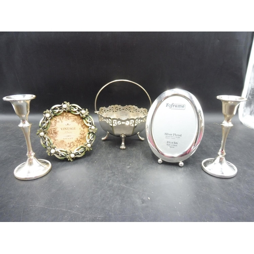 237 - Selection of Silver Plate including Candlesticks, Bowl and Picture Frames...