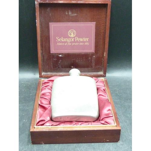 328 - Selangor Pewter Hip Flask in Presentation Box...