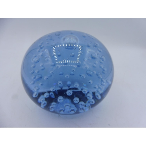 340 - Whitefriars Sapphire Controlled Bubble Paperweight...