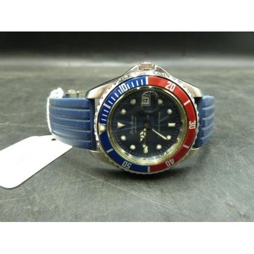 356 - Philip Persio Professional Pepsi Bezel Rotating Diver Watch...